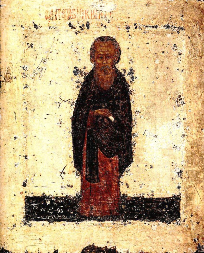 Преподобный Кирил Белозерский. Икона письма Дионисия Глушицкого, 1424 (?), ГТГ