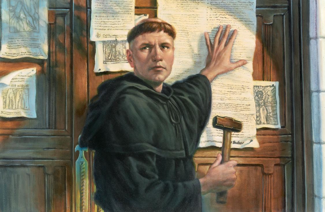 Лютер прибивает к церковным дверям петицию со своими 95 тезисами
