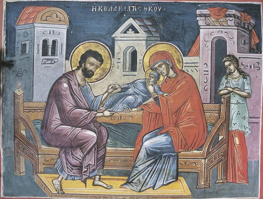 Святые Иоаким и Анна. Фреска из монастыря Дионисиат на Афоне