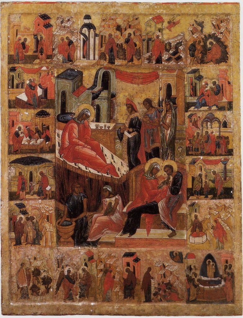 Рождество Богородицы с житием. ХVI век. Из местного ряда собора Рожества Богородицы в Устюжне