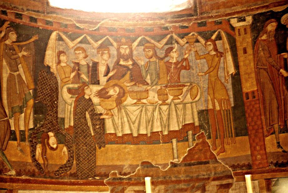 Танец Саломеи, фреска в монастыре святого Иоанна, XII в.