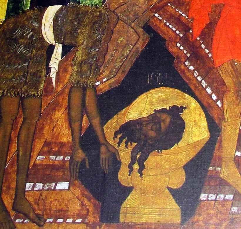 Фрагмент иконы Усекновение главы Иоанна Предтечи