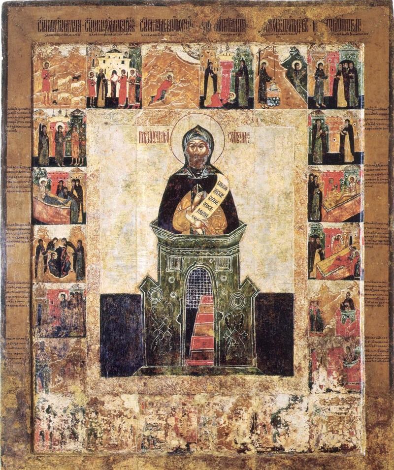 Преподобный Симеон Столпник с житием в 22 клеймах. Углич, 2-я половина XVII века