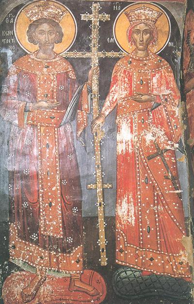 Cвв. Константин и Елена. Феофан Критский. Фреска. Метеоры (Николай Анапафса). 1527 г.