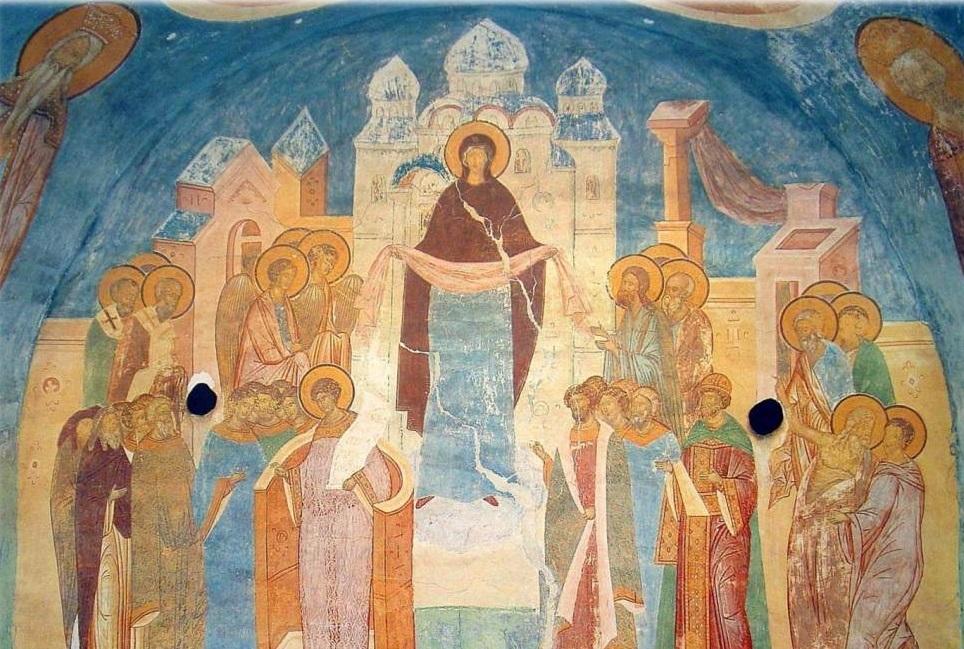 Покров Богородицы. Фреска Ферапонтова монастыря. Дионисий, 1502 год