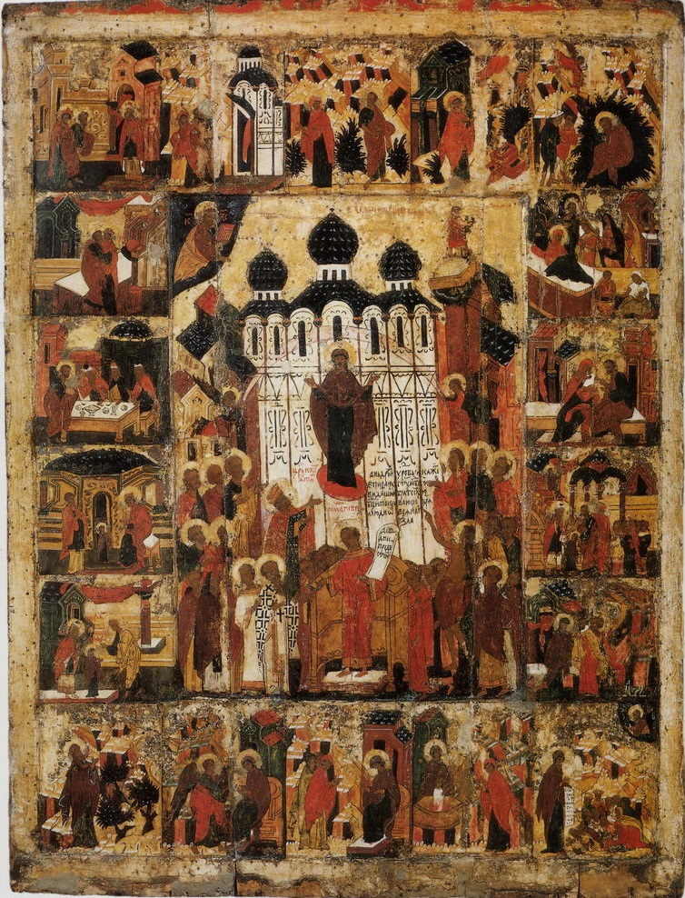 Покров Богородицы с клеймами. XVI век. Устюженский краеведческий музей