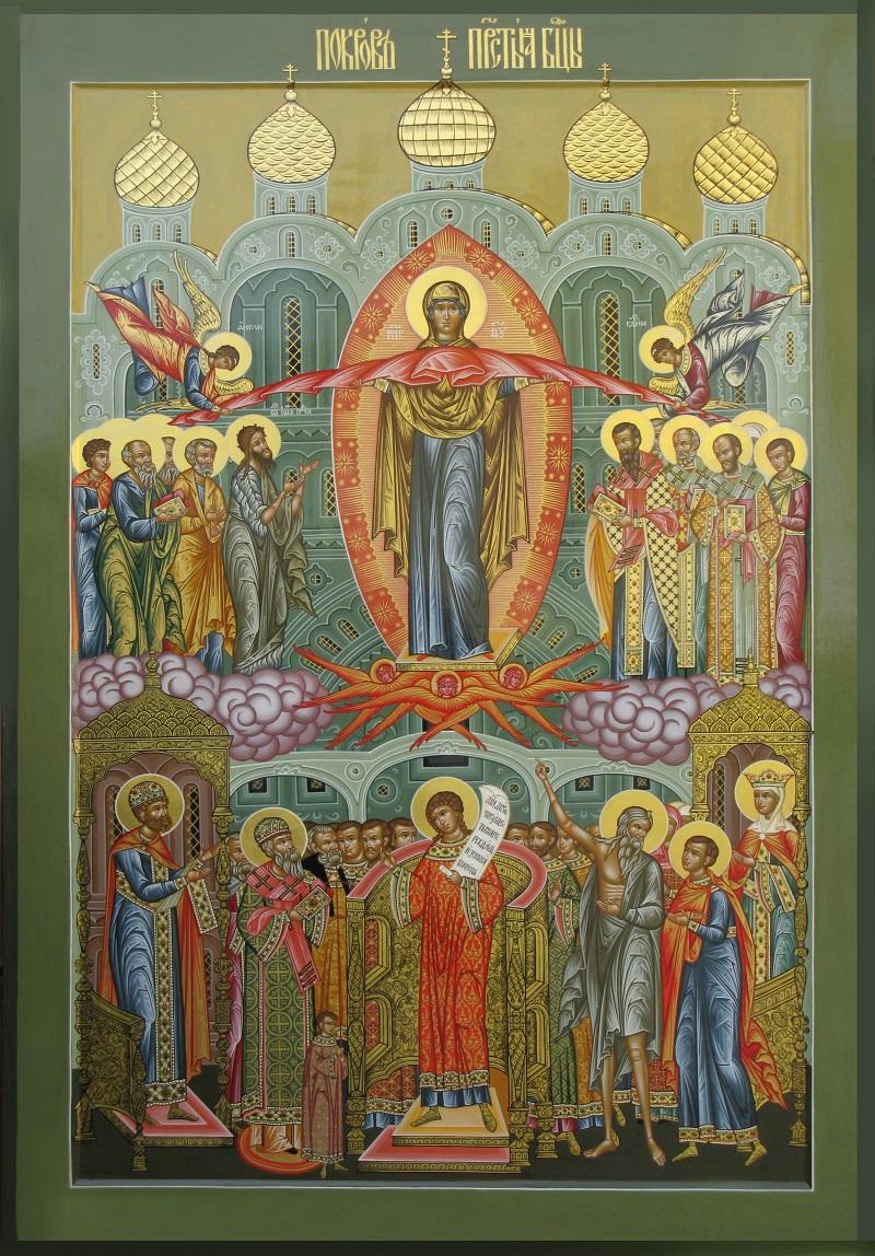 Покров пресвятой Богородицы/ Современная старообрядческая икона. Мастерская Борисов в Коломне