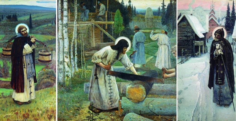 М. В. Нестеров. Труды Сергия Радонежского, триптих