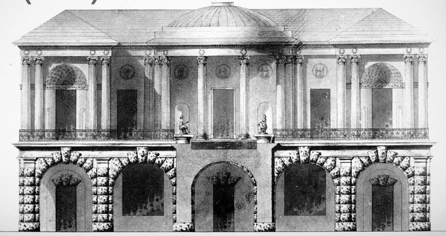 В 1780 году проект Камерона утвердили, и весной началось строительство ансамбля царскосельских терм: Холодных бань с Агатовыми комнатами, Висячего сада и галереи