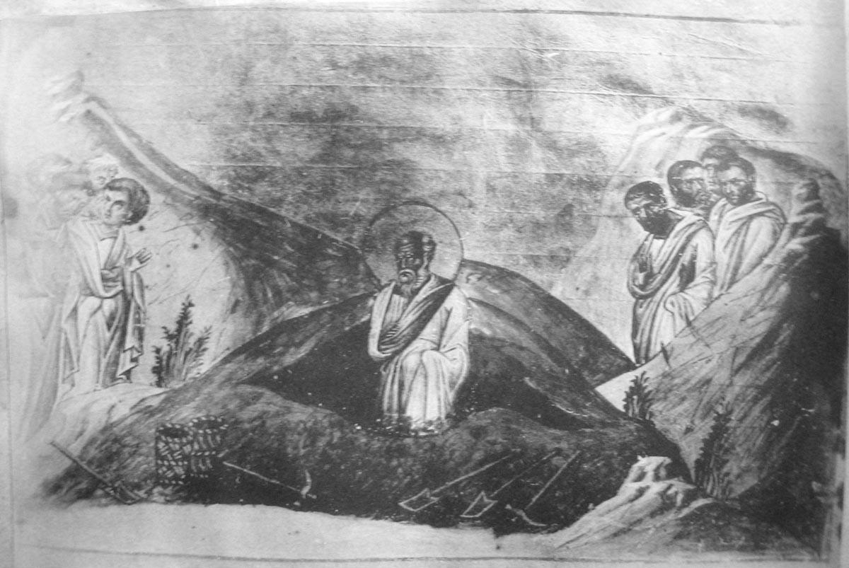 Преставление апостола Иоанна Богослова. Миниатюра Минология Василия II. Константинополь, 985 г. Ватиканская библиотека. Рим