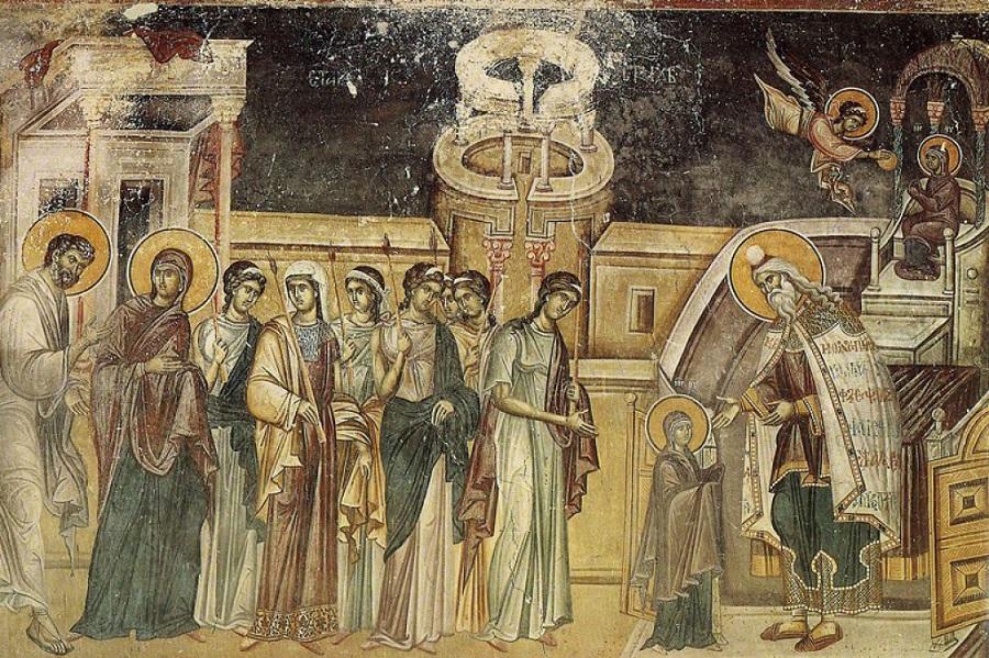 Введение во храм; Византия; XIV в.; Греция. Афон, монастырь Хиландар