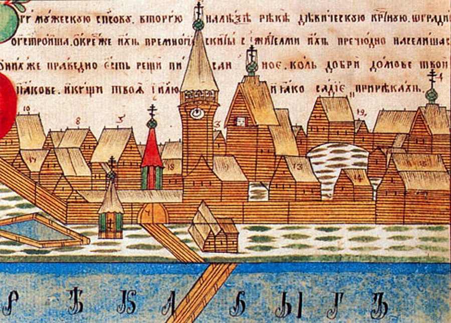 Выголексинский монастырь. Фрагмент лубка первой половины XIX в.