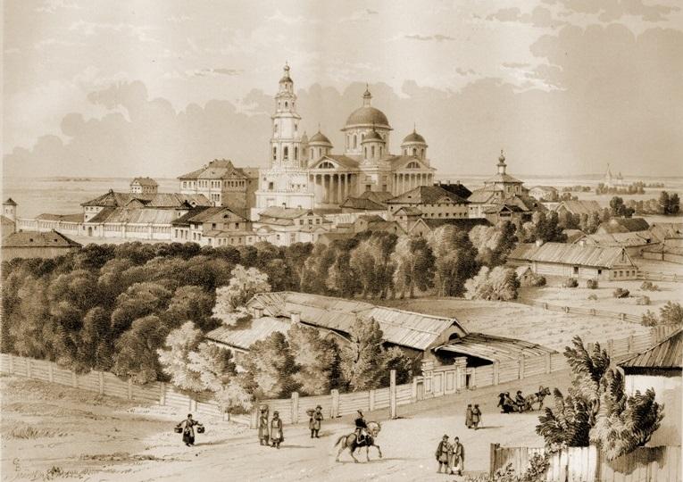 Казанский Богородицкий монастырь на гравюре Э. Турнерелли. Начало XIX века