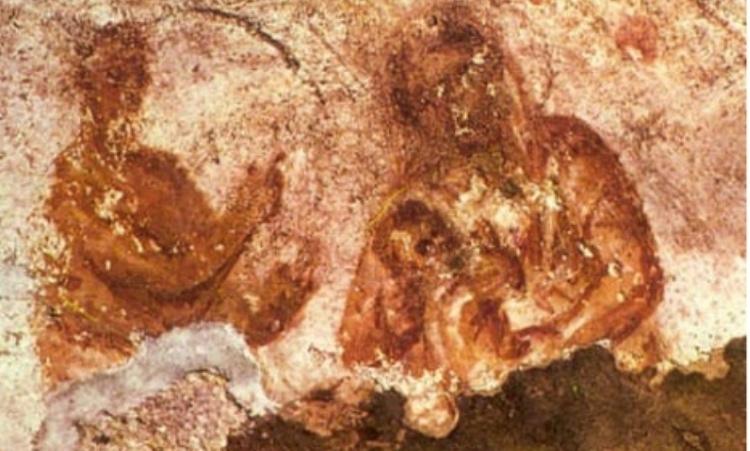 Старейшее из сохранившихся изображений Богоматери с младенцем Христом. Фрески катакомб Присциллы, II век.