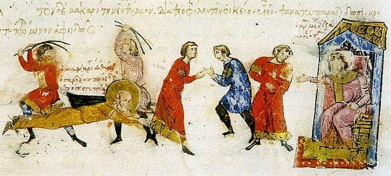 Казни монахов Миниатюра из Хроники Иоанна Скилицы, начало XIII в.