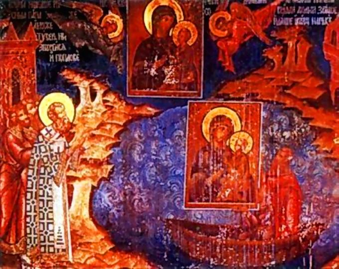 Патриарх Герман опускает в море Лиддскую икону Богородицы, чтобы спасти её от иконоборцев