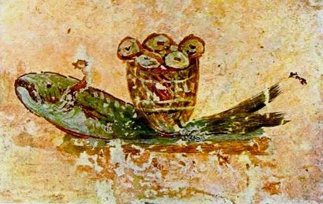 Евхаристический хлеб и рыба. Катакомбы святого Каллиста