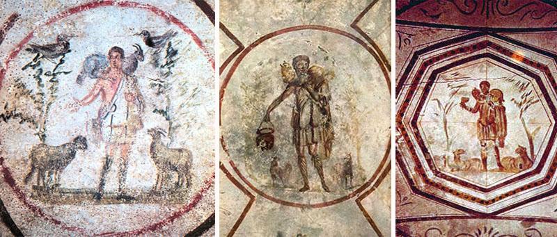 «Добрый Пастырь», фреска в Катакомбы Святого Каллиста, III век