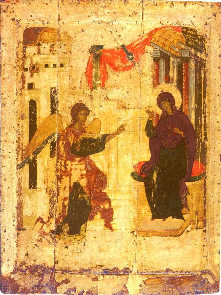 Икона «Благовещение». Андрей Рублев, 1405 г. Благовещенский собор Московского Кремля