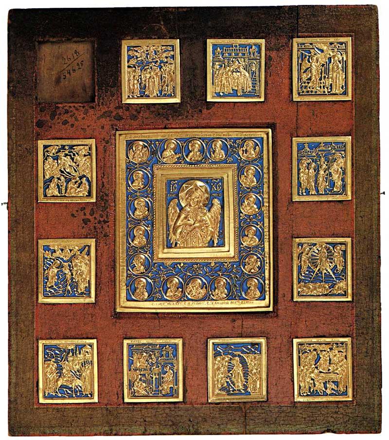 Двенадцать медных икон «Спас Благое Молчание и Двунадесятые Праздники», врезанные в доску. XIX век