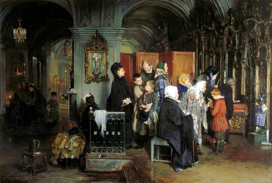 А.И. Корзухин «Перед исповедью», 1877 г., Государственная Третьяковская галерея