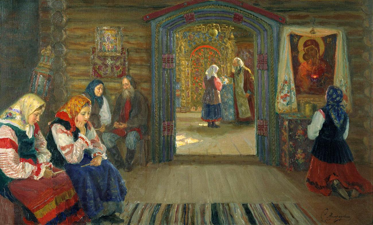 С.Д. Милорадович «У исповеди», 1913 г. Вязниковский историко-художественный музей