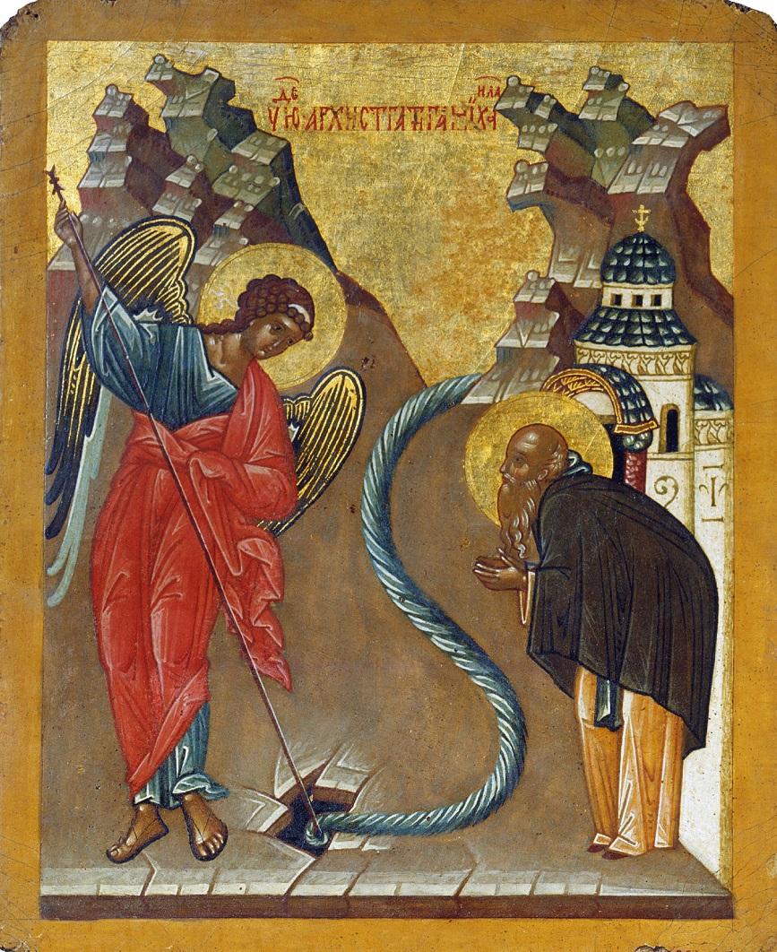 Икона Чудо Архангела Михаила в Хонех. Из собора св. Софии в Великом Новгороде. 1484–1504 годы