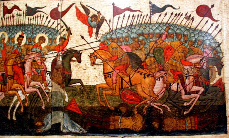 Битва новгородцев с суздальцами» (Чудо от иконы Богородицы «Знамение»). Фрагмент, вторая половина XV века, из церкви Святого Николы Кочанова