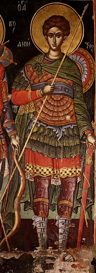 Святой великомученик Димитрий Солунский. Фрагмент фрески церкви святителя Николы. Монастырь Ставроникита. Афон, 1546 год