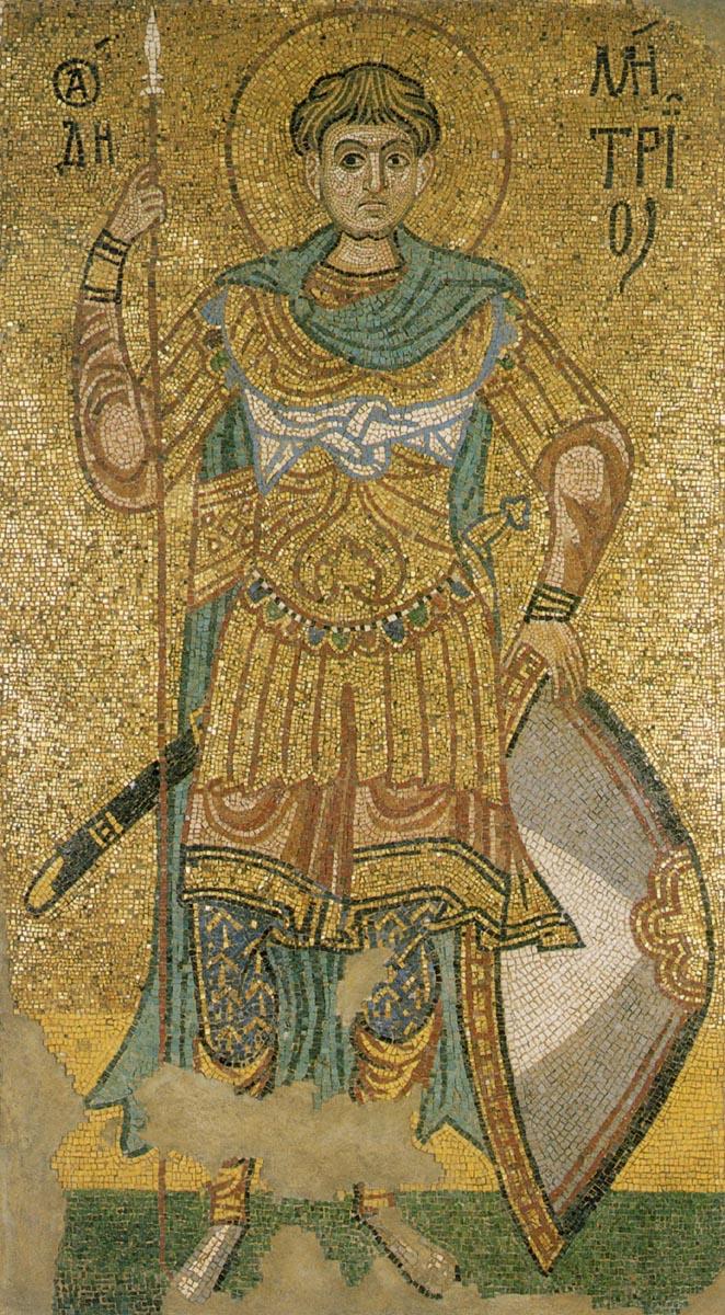 Святой великомученик Димитрий Солунский. Мозаика из собора Михайловского Златоверхого монастыря. Киев, 1108–1113 годы
