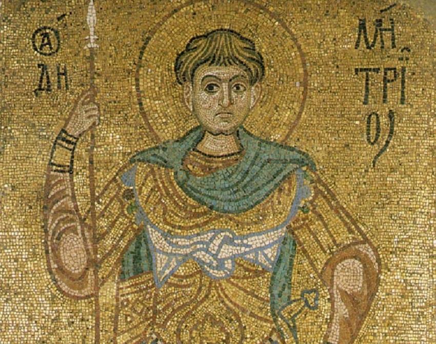 Святой великомученик Димитрий Солунский. Фрагмент мозаики из собора Михайловского Златоверхого монастыря. Киев, 1108–1113 годы