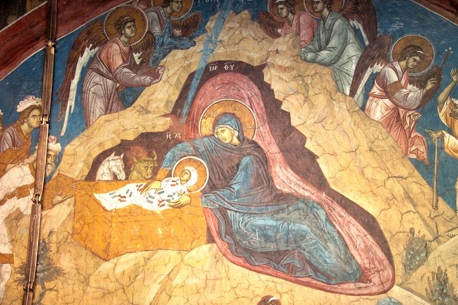 Рождество Христово, фрагмент фрески, XIV в. Сербия, Дечаны