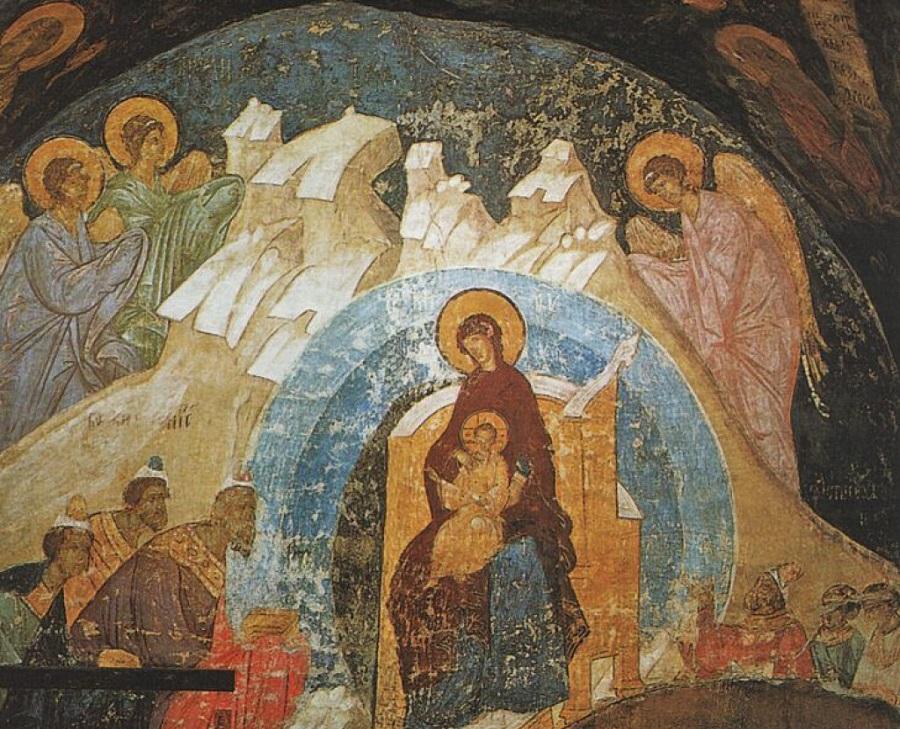 Поклонение волхвов. Фрагмент фрески Дионисия