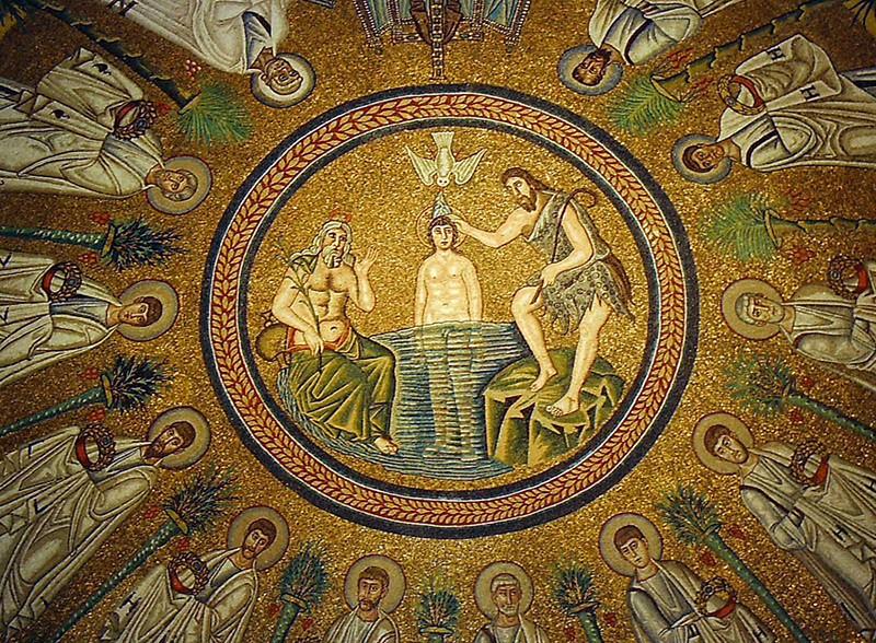 Крещение Господне. Арианский баптистерий в Равенне. 493-526 гг. Мозаика купола
