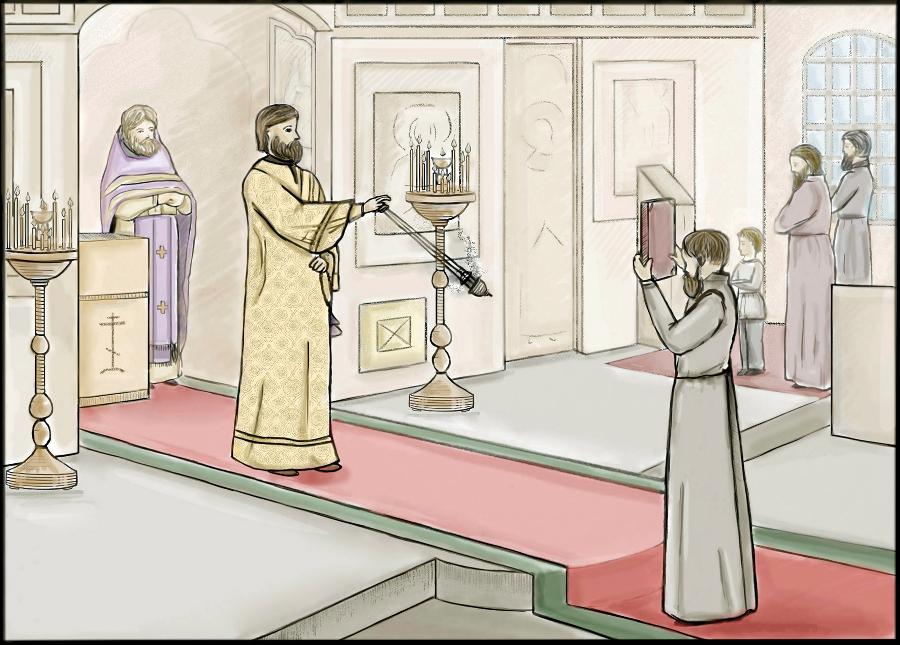 Диакон кадит молящихся