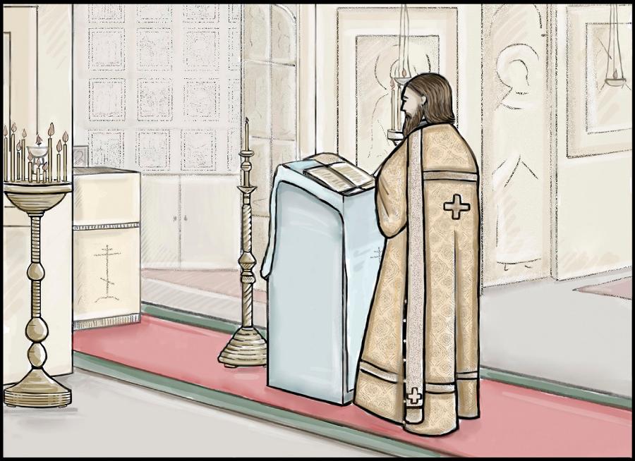 Диакон читает святое Евангелие на Литургии