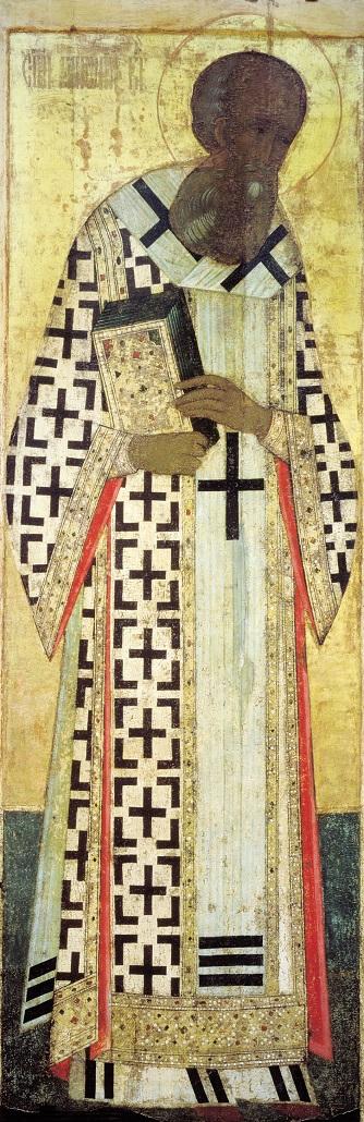 Свт.  Григорий Богослов. Иконостас Успенского собора во Владимире. 1408 г. Андрей Рублёв