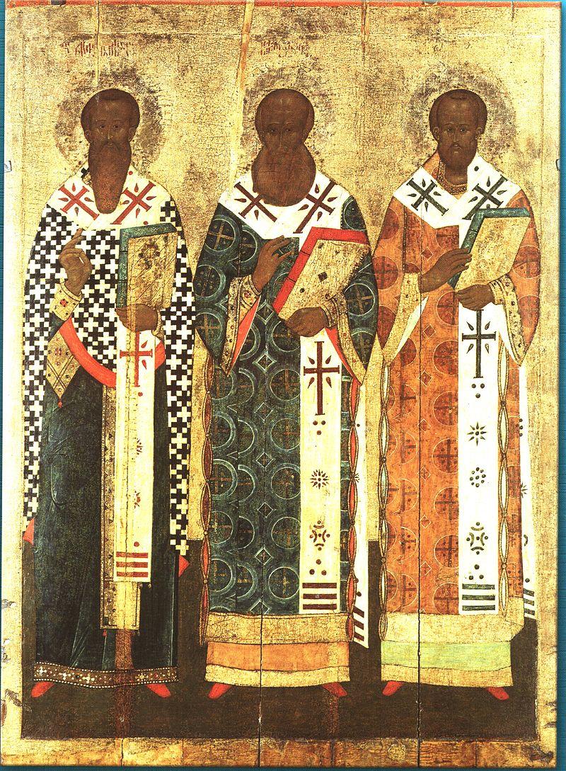 Вселенские учители Василий Великий, Григорий Богослов и Иоанн Златоуст. Икона, XVII век