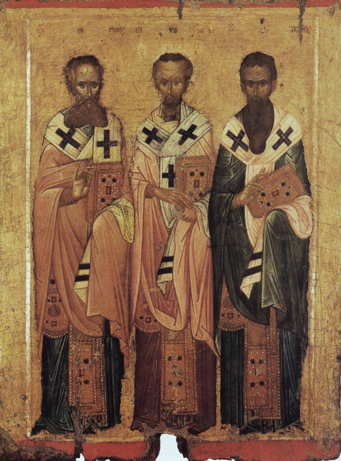 Икона Вселенские учители Василий Великий, Григорий Богослов и Иоанн Златоуст. Византия, XIV в. Византийский музей, Афины. Здесь видим именословное перстосложение