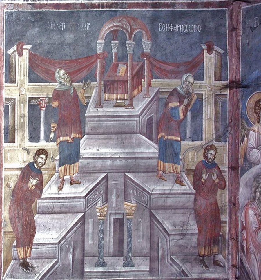 Притча о мытаре и фарисее. XIV в. Сербия, монастырь Грачаница