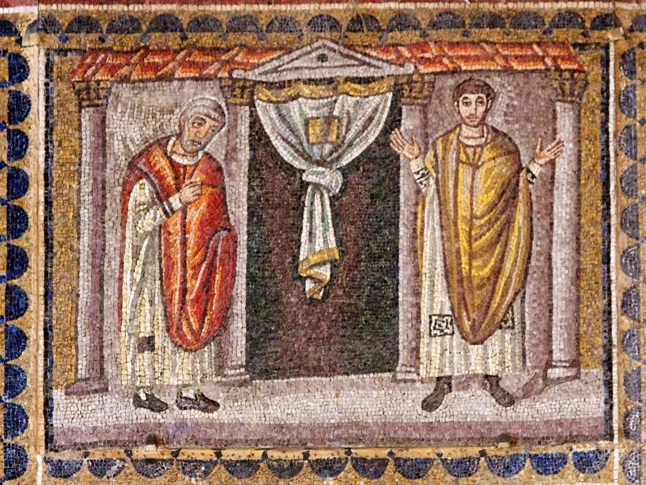 Притча о мытаре и фарисее. Мозаика из Равенны, часовня архиепископа. Около 480 года