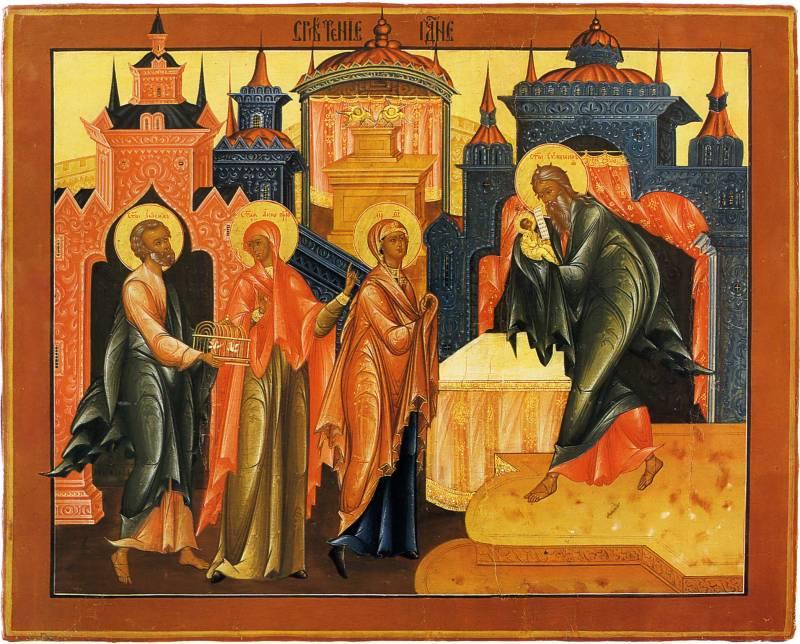 Икона Сретение Господне. Начало XIX в. Палех. Государственный музей палехского искусства