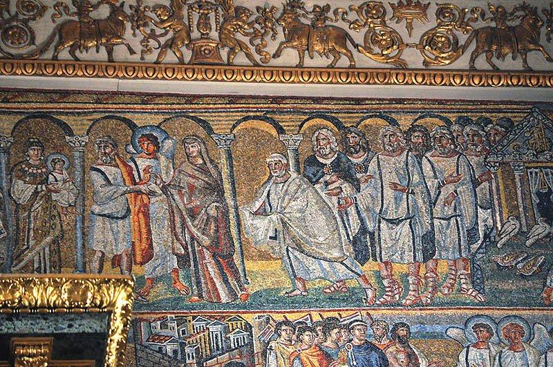 Cретение. Фрагмент  мозаики триумфальной арки базилики  Санта Мария Маджоре, Рим, 432-440-е гг.
