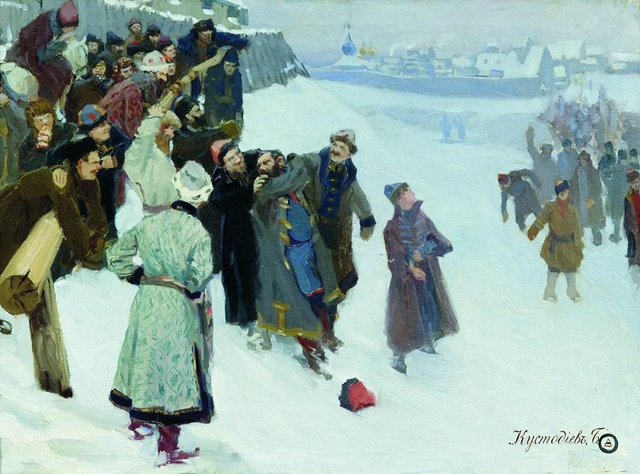 Б. Кустодиев. Кулачный бой на Москва-реке