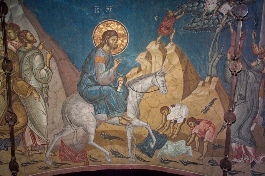 Вход Господень в Иерусалим, фрагмент фрески. Монастырь Высокие Дечаны, Сербия, ХIV век
