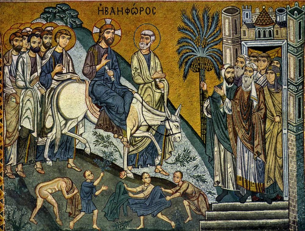 Вход Господень в Иерусалим. Мозаика Палатинской капеллы в Палермо, Италия, середина XII в.