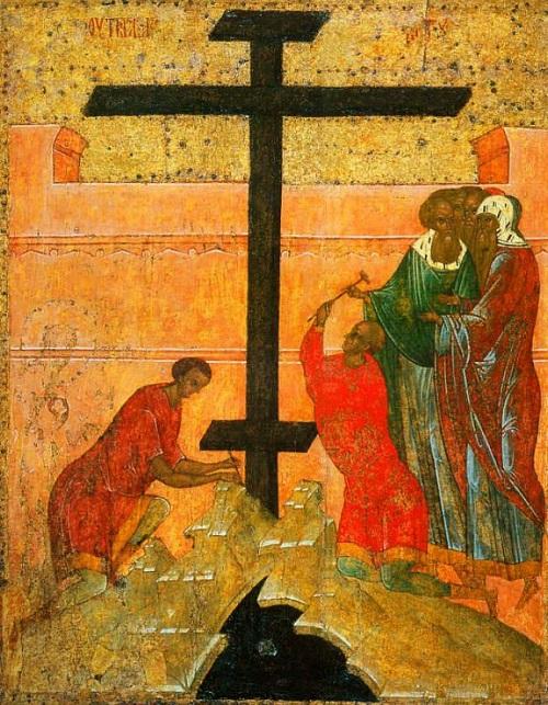 Утверждение креста (перед Распятием Христовым). Около 1497 (?), ростовская школа (?) Из Успенского собора Кирилло-Белозерского монастыря