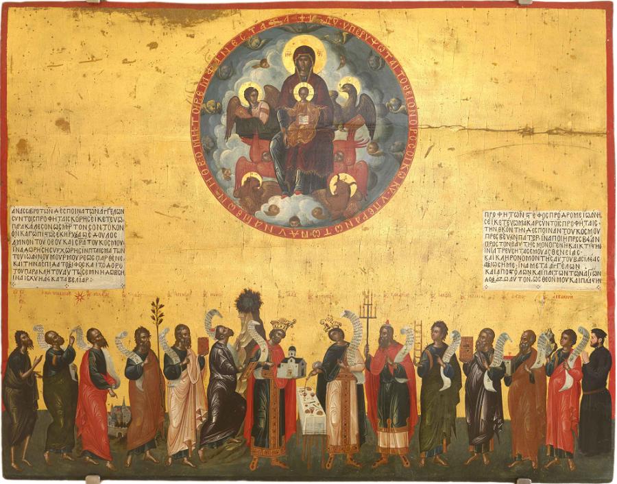 Похвала Богородицы, апостолы. Критская школа. Италия, Венеция. XVI в.