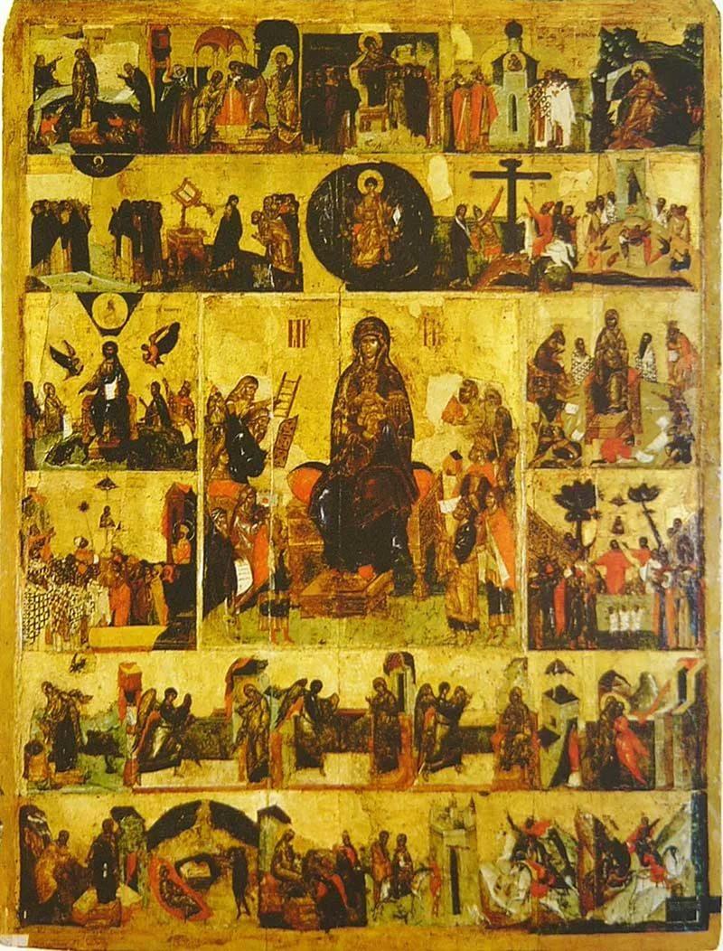 Икона Похвала Богоматери с Акафистом в клеймах из московского Успенского собора, конец XIV века