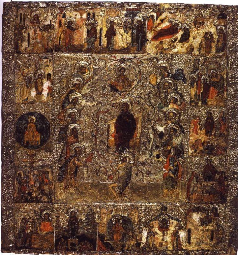 Икона Похвала Богоматери с Акафистом из московского Успенского собора, XIV век, греческий мастер